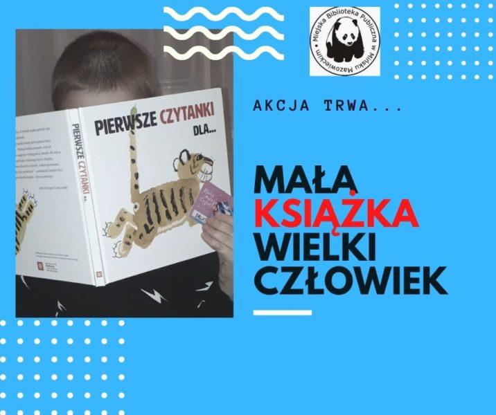plakat promujący akcję mała książa wielki człowiek chłopiec czyta ksiażkę