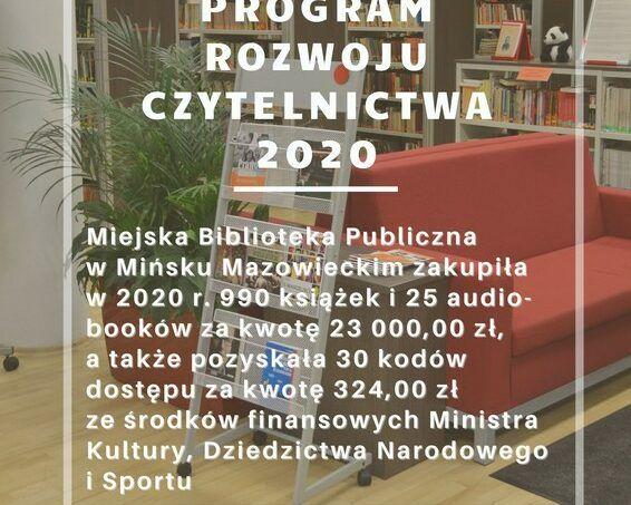 plakat informujący o zakupie nowości w ramach Narodowego Programu Rozwoju Czytelnictwa 2020
