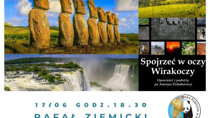 fotgrafie z podróży po Ameryce Południowej, wodospad, rzeżby góry logo biblioteki globus i panda