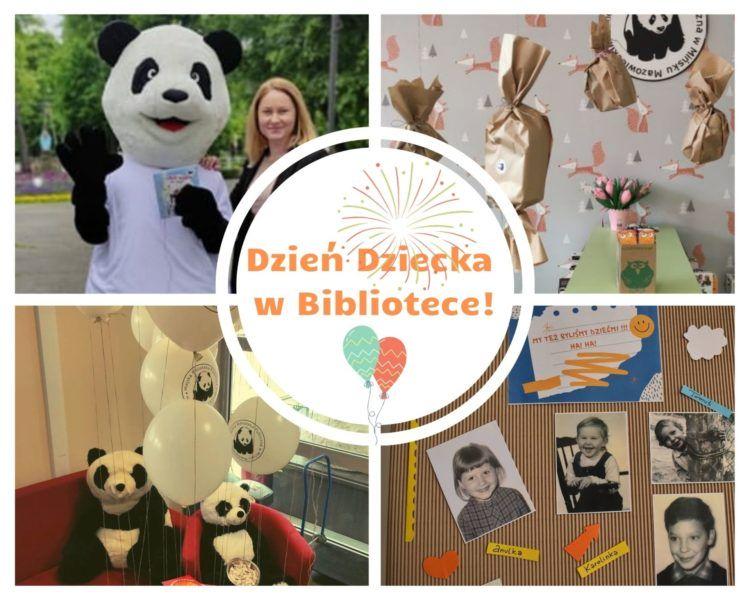 kolaż zdjęć dyrektor biblioteki z wielka maskotką pandą, prezenty, balony, fotografie bibliotekarzy w dzieciństwie