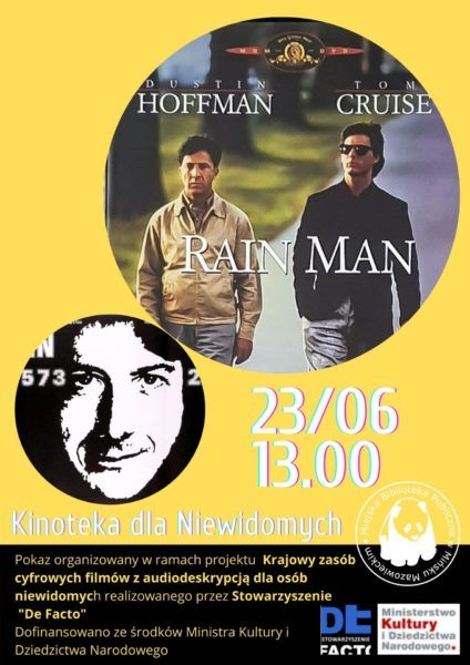 w kole zdjęcie okładki filmu dwóch mężczyzn idzie ulicą Dustin Hoffman i Tom Cruise