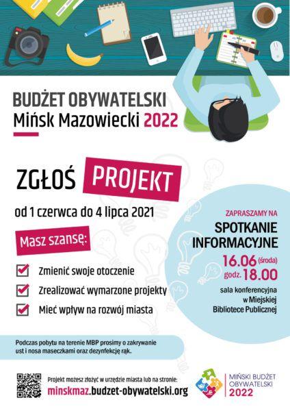 plakat informacyjny o Budżecie Obywatelskim naszego miasta rysunek człowiek przy biurku zapisuje coś w kalendarzu