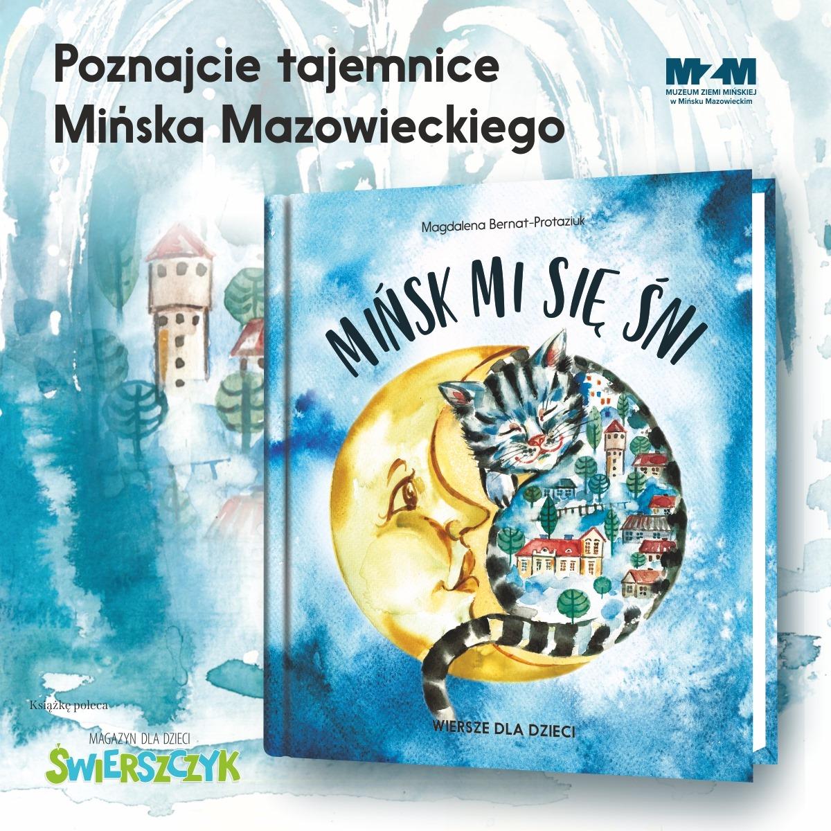 ksiażeczka dla dzieci z księżycem i kotkiem na okładce w tle okadka świerszczyka