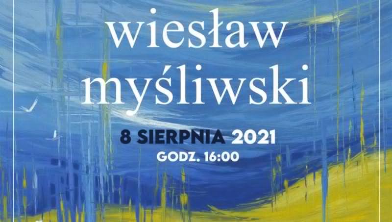niebiesko zlóty plakat niebo i łany zbóż logao alei gwiazd literatury Wiesłaz Myśliwski