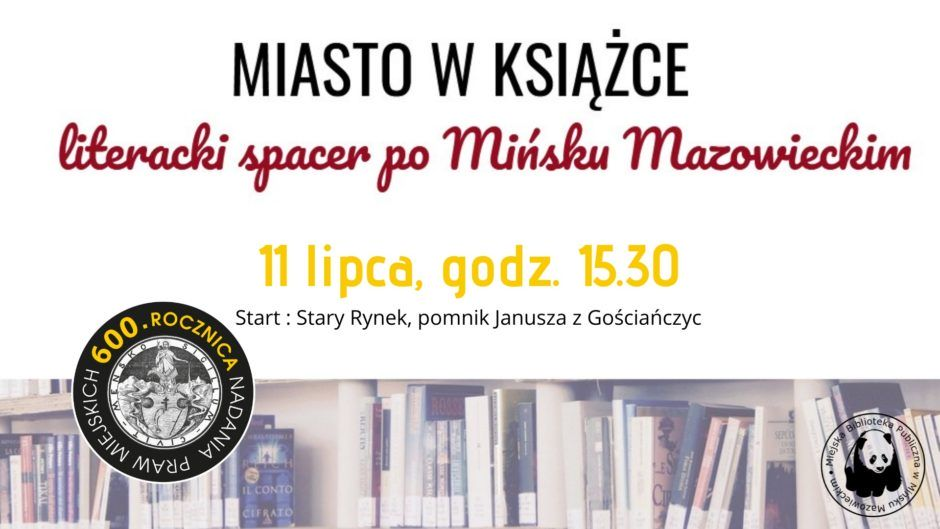 półka z książkai, logo 600lat miasta i tytuł Miasto w książce - spacer literacki