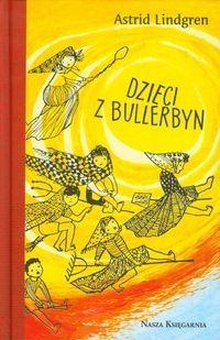 okładka ksiażi Dzieci z Bullerbyn narysowane postaci dzieci i żółte słońce
