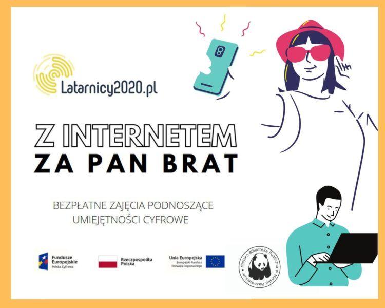 rysunek kobiety ze smartfoenm i mężczyzny z laptopem tytuł Z internetem za pan brat
