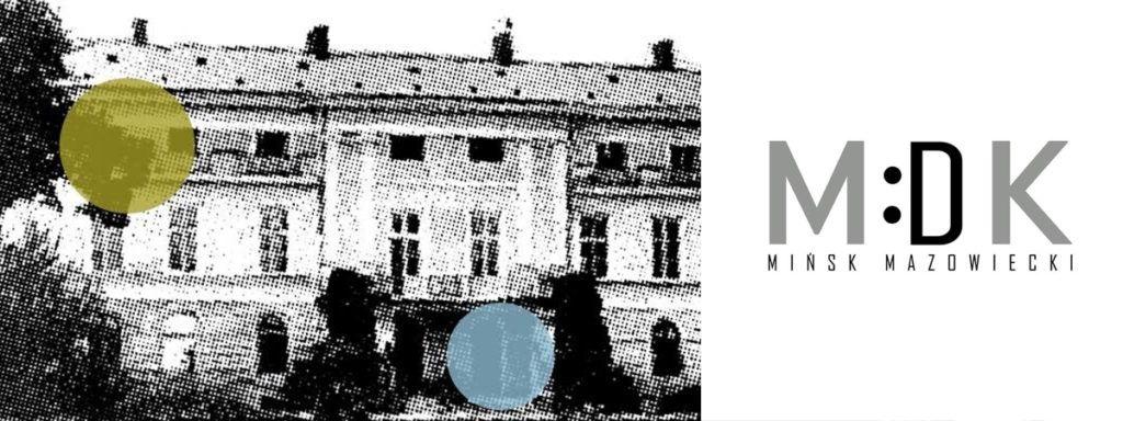 postarzona fotografia pałacu Dernałowiczów i dwie duże kolorowe kropki