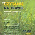 zdjecie zielonej trawy i informacje o pikniku czytanie na trawie 8.08 godz.14.00