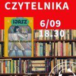 plakat z okładką książki w tle półka z książkami napis klub czytelnika