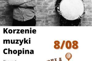 skrzypek i dziewczyna z bębnem na plakacie oraz data i tytuł koncertu