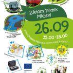 reklama pikniku miejskiego obrazki przedstawiające rózne aktywności bule, jedzenie, rysunek miasteczka rowerowego,autobus elektryczny, hulajnoga,logo 600 drzew