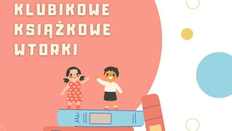 rysunek dzieci na stercie książek i napisy bibluioteka książka zabawa