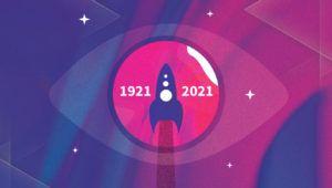 rysunek rakiety na różowym tle napis Leminiscencje