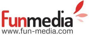 logo napis funmedia z czerwonymi listkami