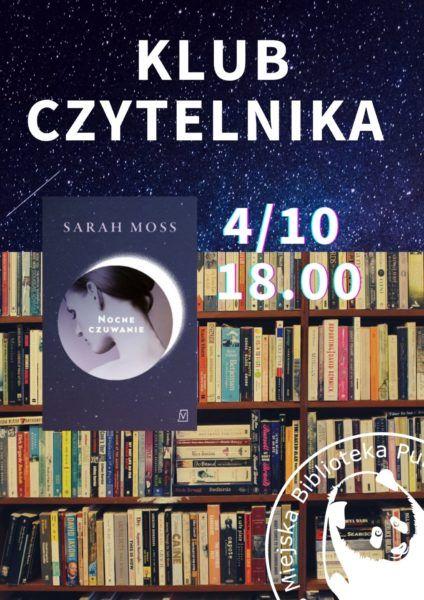 półki z książkami w tle i okładka ksiażi Nocne czuwanie logo biblioteki
