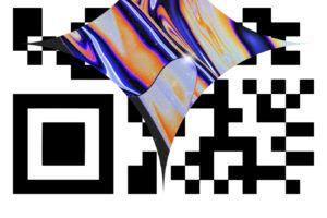 kod QR grafika abstrakcyjna i napis LEM
