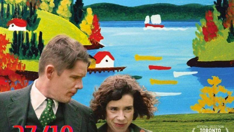kolorowy obraz pejzaż na pierwszym planie mężczyzna i kobieta logo biblioteki i informacja o stowarzyszeniu Defacto