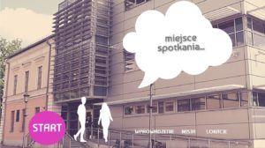 budynek biblioteki rysunkowe postacie kobiety i mężczyzny w chmurce napis miejsce spotkania
